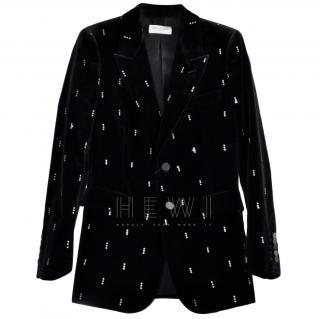 Saint Laurent diamante detail black velvet blazer