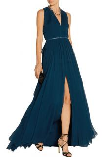 Elie Saab Blue Pleated silk-chiffon gown