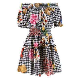 Dolce & Gabbana Gingham Printed Poplin Off-Shoulder Dress