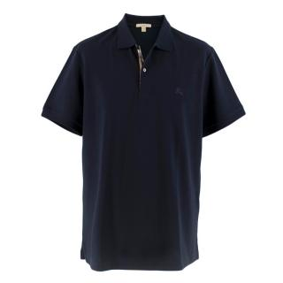 Burberry Navy Textured Polo T-Shirt