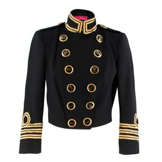 Dsquared2 black & gold cropped military jacket