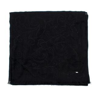 Saint Laurent Black Embroidered Sheer Scarf