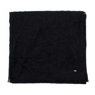 Saint Laurent Black Embroidered Sheer Scarf