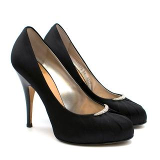 Guiseppe Zanotti Black Satin Platform Embellished Pumps