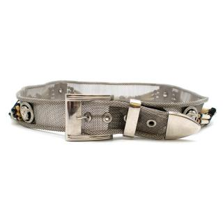 Versace silver tone embellished mesh belt