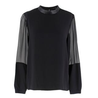 Tibi black silk blouse w/ leather trim & sheer sleeves