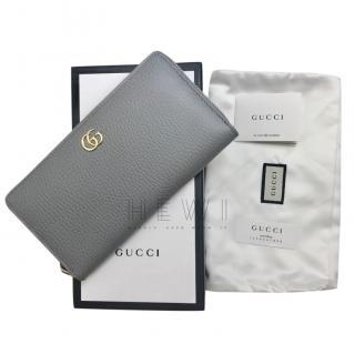 Gucci Grey Textured Leather Zip Around GG Wallet