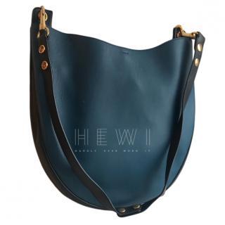 Celine Metallic Blue Medium Hobo Shoulder Bag