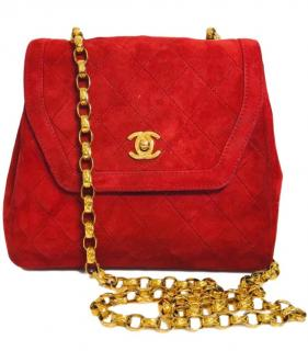 Chanel Vintage Red Suede Crossbody Bag