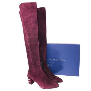 Stuart Weitzman Purple OTK Studded Heel Boots