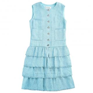 Chanel Tiffany Blue Sleeveless Tweed Dress