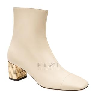 Bally Emme Leather Cream Bone Boots