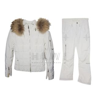 Bogner White Ski Suit W/ Fur Trim