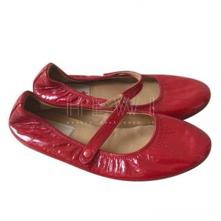 Lanvin Red Patent Leather Ballerina Flats