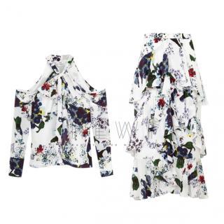 Erdem Aila Cold-Shoulder Floral Top & Skirt