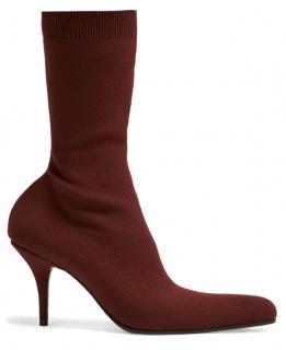 Balenciaga Burgundy Round Sock Booties