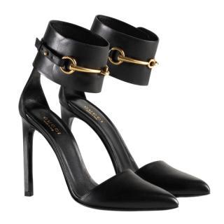 Gucci Black Horsebit Ankle Wrap Sandals