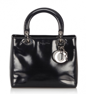 Dior Lady Dior Black Patent Tote Bag