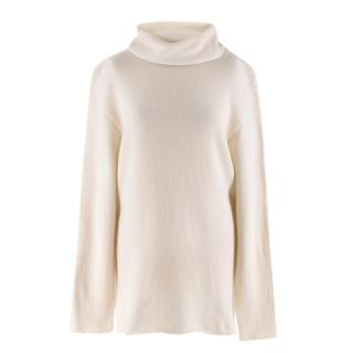 The Row Ivory Cashmere Knit Turtleneck Jumper