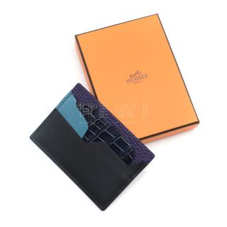 Hermes Petit H Card Holder in Calfskin, Goatskin & Porosus Crocodile