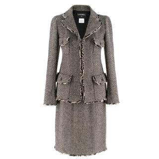 Chanel Wool Chevron Tweed Jacket & Skirt