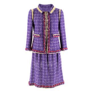 Chanel Lilac Tweed Jacket & Skirt W/ Multicolour Raw Hem