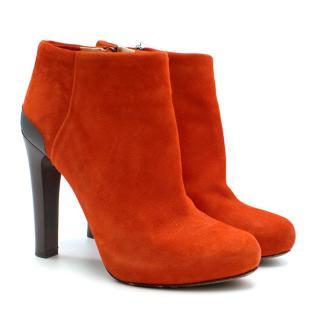 Fendi Round Toe Suede Block Heel Ankle Boots
