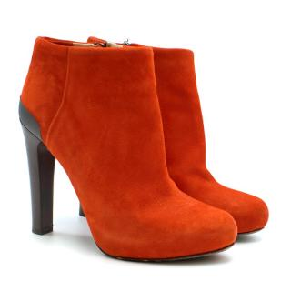 Fendi Round Toe Suede Block Heel Ankle Boots