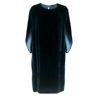 Fendi dark green velvet cape dress