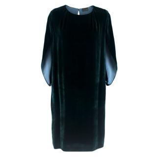 Fendi dark green velvet cape dress