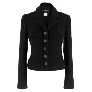 Chanel black wool & silk blend tweed short jacket