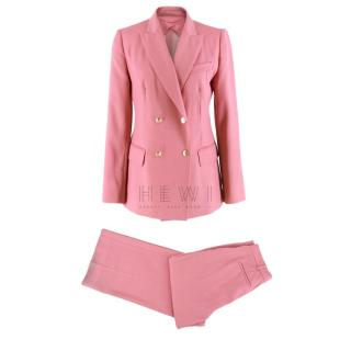 Max Mara Double-Breasted Pink Virgin Wool Suit