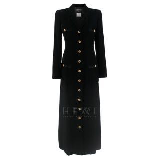 Chanel Black Velvet Runway Longline Coat W/ Jewelled Buttons
