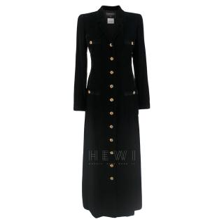 Chanel Black Velvet Runway Longline Coat W/ Jewelled Buttons