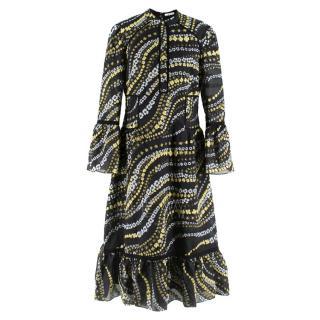 Erdem Floral Embroidered Sheer Black Dress