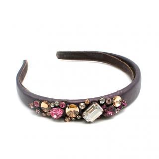Miu Miu Bejeweled Purple Headband