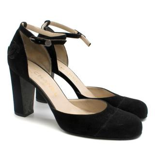 Chanel Black Suede Ankle Strap CC Pumps