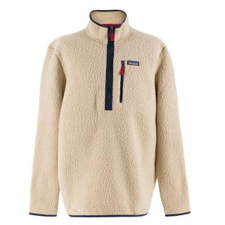 Patagonia Beige Fleece Pullover Quarter-Zip Jumper