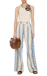 Dodo Bar Or Blue Kika Striped Cotton-gauze Wide-leg Trousers