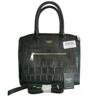 Osprey Black Croc Embossed Top Handle Bag