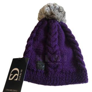 FurbySD Hand Knitted Hat W/ Chinchilla Pom Pom