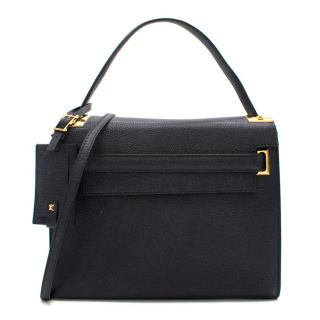 Valentino Navy Textured My Rockstud Tote Bag