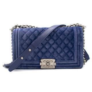 Chanel Blue Velvet Small Boy Bag