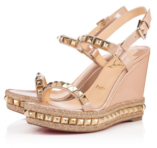 Christian Louboutin Cataclou 120 studded patent-leather wedge sandals
