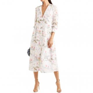 Vilshenko Kimberley floral-print broderie anglaise cotton-blend dress