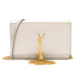 Saint Laurent Platine Silver Metallic Kate Tassel Bag