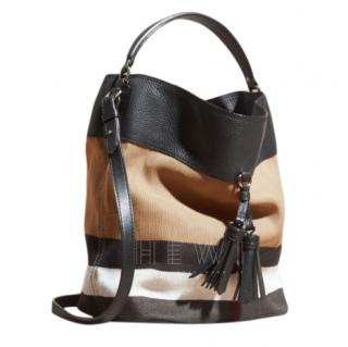 Burberry Leather & Canvas Ashby Tote Bag