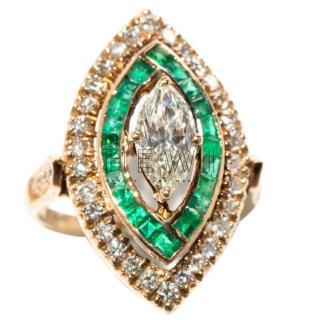 Bespoke Art Deco Diamond & Emerald Ring