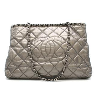 Chanel Metallic Silver Chain Me Tote Bag