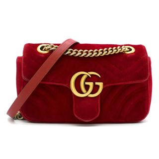 Gucci Red GG Marmont Mini Velvet Bag